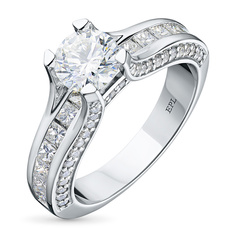 Кольцо из белого золота с бриллиантами э0901кц09172800 ЭПЛ Якутские Бриллианты
