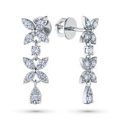 Пусеты из белого золота с бриллиантами э0901пс09186000 ЭПЛ Якутские Бриллианты