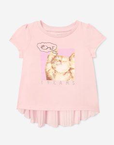Розовая футболка с принтом Dreams и стразами для девочки Gloria Jeans