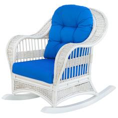 Кресло-качалка Rattan grand white с подушками