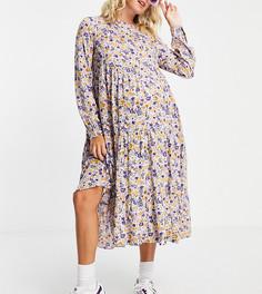 Свободное платье миди с сиреневым цветочным принтом Pieces Maternity-Многоцветный