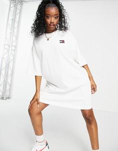 Белое платье с короткими рукавами и логотипом Tommy Jeans-Белый