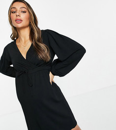 Черное свободное платье мини с запахом спереди и объемными рукавами Mamalicious Maternity-Черный цвет Mama.Licious