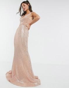 Розовое платье макси с лифом-бандо с вырезом Jovani-Розовый цвет