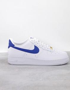 Бело-синие кроссовки Nike Air Force 1 07-Белый