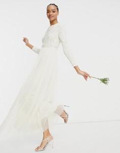 Свадебное платье макси светло-бежевого цвета с длинными рукавами, отделкой пайетками и юбкой из тюля Maya-Белый