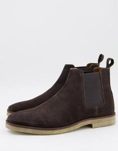Коричневые замшевые ботинки челси Walk London-Коричневый цвет