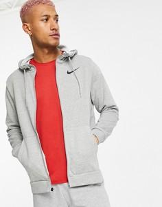 Худи из флиса светло-серого цвета на молнии Nike Training Dri-FIT-Серый