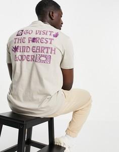 Серая футболка с принтом на спине Bershka-Серый