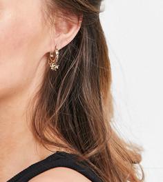 Золотистые серьги-кольца с подвесками в виде звезд Reclaimed Vintage Inspired-Золотистый