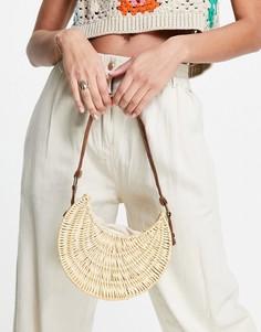 Структурированная сумка на плечо из ротанга светло-бежевого цвета ASOS DESIGN-Нейтральный