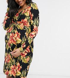 Платье мини с цветочным принтом и отделкой узлом Mamalicious Maternity-Многоцветный Mama.Licious