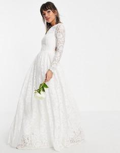 Кружевное свадебное платье с длинными рукавами и открытой спиной ASOS EDITION Odette-Белый