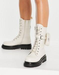 Кремовые ботинки средней высоты на массивной подошве со шнуровкой и съемным кошельком Truffle Collection-Белый