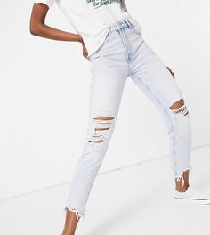 Светло-голубые джинсы в винтажном стиле из органического хлопка со рваной отделкой Bershka Tall-Синий