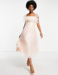 Розовое платье-бардо миди с пайетками из органзы Forever U-Розовый цвет