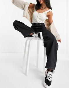 Черные выбеленные джинсы свободного кроя Topshop-Черный цвет
