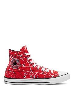 Высокие кроссовки красного цвета с принтом в виде брызг краски Converse Chuck Taylor All Star-Красный