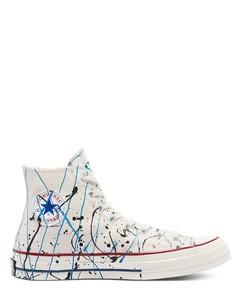 Высокие кроссовки цвета эгрет с принтом в виде брызг краски Converse Chuck 70-Белый
