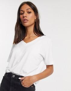 Белая футболка из органического хлопка с V-образным вырезом и короткими рукавами Selected Femme-Многоцветный