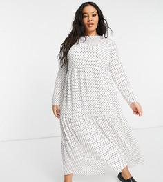 Белое ярусное платье миди свободного кроя с длинными рукавами и узором в горошек ASOS DESIGN Curve-Многоцветный