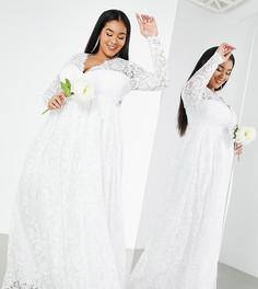 Свадебное кружевное платье цвета слоновой кости с V-образным вырезом ASOS EDITION Curve Penny-Белый