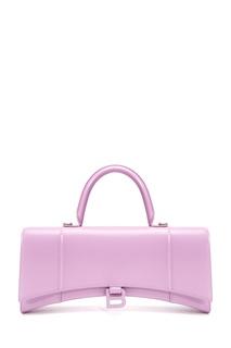 Кожаная сиреневая сумка Hourglass Stretched Balenciaga