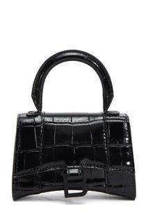 Черная кожаная сумка с тиснением Hourglass Mini Balenciaga