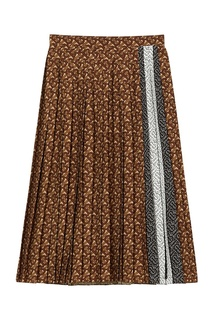 Коричневая плиссированная юбка с монограммами Burberry