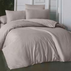 Комплект постельного белья La Besse Премиум Сатин тёмно-серый Евро