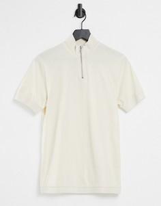 Бежевая строгая футболка с высоким воротом на молнии и кромкой в рубчик ASOS DESIGN-Светло-бежевый