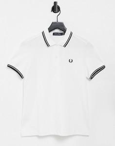 Белая футболка-поло с отделкой двойным кантом Fred Perry-Белый