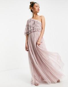 Платье макси холодного розового цвета с ассиметричным декорированным топом Maya-Розовый цвет