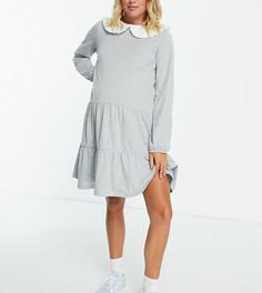 Светло-серое ярусное платье с присборенной юбкой и широким воротником Pieces Maternity-Серый