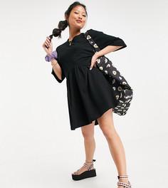 Черное oversized-платье мини с присборенной юбкой и заниженной талией ASOS DESIGN Petite-Черный