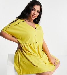 Платье мини горчичного цвета на пуговицах с присборенной юбкой и карманами ASOS DESIGN Curve-Желтый
