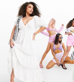 Белое платье макси с присборенной талией, кружевными вставками и вышивкой ришелье ASOS DESIGN Curve-Белый