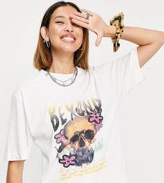 """Кремовая футболка в стиле oversized с принтом черепа и надписью """"beyond"""" COLLUSION-Белый"""