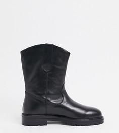 Черные кожаные ботинки для широкой стопы на массивной подошве ASOS DESIGN-Черный