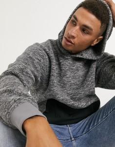 Серый меланжевый худи изискусственного меха снейлоновым карманом Levis