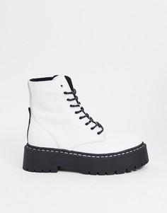 Массивные кожаные ботинки белого цвета на шнуровке Steve Madden Skylar-Белый