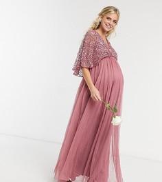 Розовое платье макси подружки невесты с юбкой из тюля, изящными пайетками, запахом и кейпом Maya Maternity-Розовый