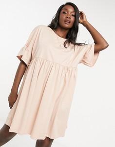 Свободное платье бежевого цвета в стиле oversized с оборками нарукавах ASOS DESIGN-Бежевый