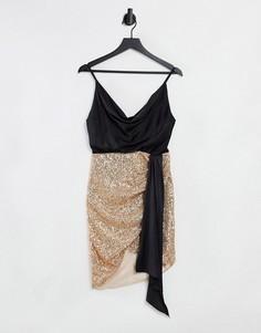 Платье-комбинация цвета розового золота с запахом, отделкой пайетками и атласным свободным воротом Jaded Rose-Золотистый