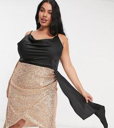 Платье мини 2-в-1 цвета розового золота с драпированным свободным воротом и пайетками на юбке Jaded Rose-Золотистый