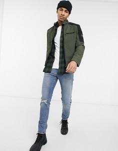 Байкерская куртка из нейлона цвета хаки Calvin Klein-Зеленый цвет