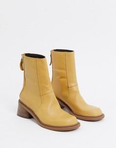 Ботинки изпремиум-кожи песочного цвета ASOS DESIGN-Бежевый