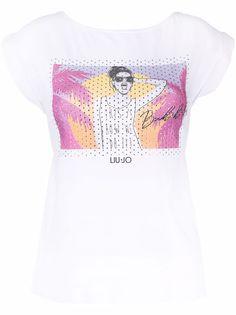 LIU JO футболка с кристаллами и графичным принтом