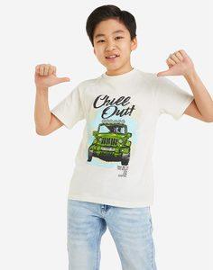 Белая футболка с принтом CHILL OUT для мальчика Gloria Jeans