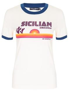Футболка хлопковая с принтом Dolce & Gabbana